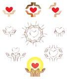 Руки и элемент логотипа значка сердца иллюстрация штока