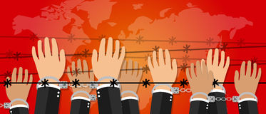 Руки иллюстрации свободы прав человека под символом активизма преступления против человечности провода надевают наручники Стоковые Изображения
