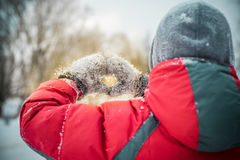 Руки мальчика в символе сердца перчаток зимы сформировали концепцию образа жизни и чувств Стоковые Фото