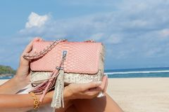 Руки молодой женщины конца-вверх с роскошной дорогой сумкой питона snakeskin Индийский океан на предпосылке bali Индонесия Стоковое фото RF