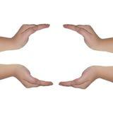 Руки на белой предпосылке Стоковое Изображение RF
