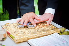 Руки на библии на свадьбе Стоковая Фотография RF
