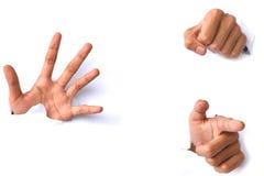 Руки над бумагой на белых предпосылках Стоковая Фотография RF