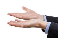 Руки на изолированной предпосылке Стоковое Изображение RF