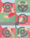 Руки на машине колеса Стоковое фото RF