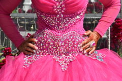 Руки невесты в розовом платье свадьбы на праздник подбородка Стоковые Изображения