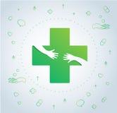 Руки обнимают в дизайне значка больницы, здравоохранение и медицинском векторе символа логотипа иллюстрация штока