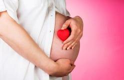 Руки обнимая беременный живот и сердце на пинке Стоковые Изображения