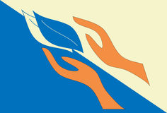 Руки логотипа с листьями Стоковое Фото
