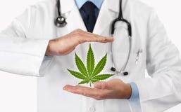 Руки доктора с концепцией символа марихуаны медицинской стоковое фото rf