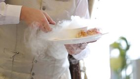 Руки официантов положили испаряться блюдо на плиту акции видеоматериалы