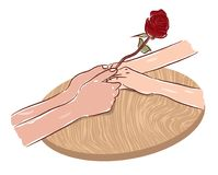 Руки пар держа чертеж свадьбы захвата символа влюбленности розового цветка романтичный Стоковая Фотография RF
