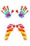 Руки печать и следы ноги малого младенца стоковое изображение