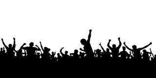 Руки поднимают вентиляторы Толпа силуэта людей Знамя спорт иллюстрация вектора