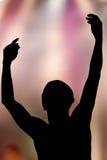руки поднимая силуэт Стоковое Фото