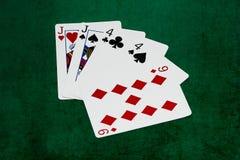 Руки покера - 2 пары - jacks, fours, 9 стоковая фотография