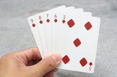 Руки покера прямого потока стоковое фото rf