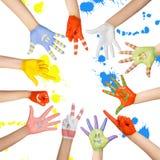 Руки покрашенных детей Стоковое Изображение RF