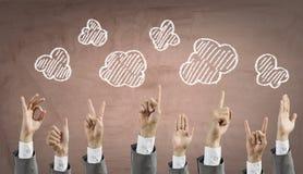 Руки подъема группы людей Мультимедиа Стоковые Изображения RF