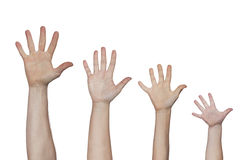 Руки приветствиям всех членов семьи Стоковые Изображения