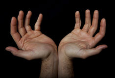2 руки приветствуют что-то Молитва вызывать стоковая фотография rf