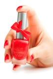 Руки при красный изолированный маникюр Стоковое фото RF