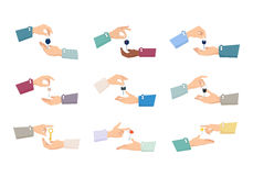 Руки проходя ключи Процесс продажи Коллекция иллюстрация вектора
