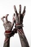 Руки прыгают, кровопролитные руки, грязь, веревочка, на белой предпосылке, изолированный, похищая, зомби, демоне Стоковые Фотографии RF