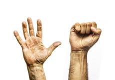 Руки работника пакостные, открытая ладонь и кулак Стоковые Фото