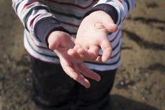 Руки ребенка в песке Стоковое Изображение RF