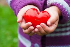 Руки ребенка с томатом сердца форменным Стоковое Фото