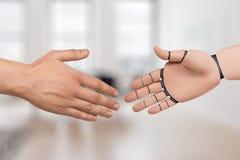 Руки робота и человека трясут руки andrei стоковая фотография