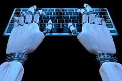 Руки робота ai печатая на кнопочной панели Робототехническая рука киборга руки используя компьютер клавиатуры r иллюстрация штока