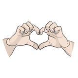 Руки символизируют объявление влюбленности Я тебя люблю значок руки символизируют объявление значка влюбленности Я тебя люблю зна Стоковые Изображения