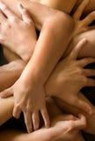 руки сложенные рукоятками Стоковые Изображения RF