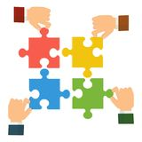 Руки собирают головоломку бесплатная иллюстрация
