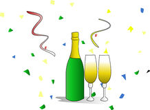 руки стекел каннелюры шампанского торжества бутылки Стоковые Изображения RF