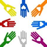 Руки с влюбленностью в круге Стоковые Фото