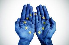 Руки сделанные по образцу с европейским флагом Стоковые Фотографии RF