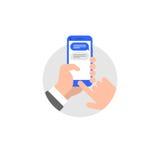 Руки с иллюстрацией стиля smartphone плоской Стоковые Изображения