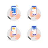Руки с иллюстрацией стиля smartphone плоской Стоковые Фото
