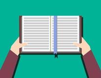 Руки с книгой Знание, концепция образования плоская Стоковое Изображение