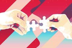 Руки с предпосылкой 2 частей головоломки абстрактной, современной иллюстрацией для сыгранности, партнерством, отношением, соедине иллюстрация вектора