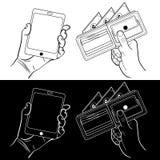 Руки с телефоном и бумажником Иллюстрация вектора