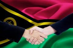 2 руки с флагом Вануату Стоковое Изображение