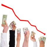 Руки с цена акци концепции долларов стоковое фото rf