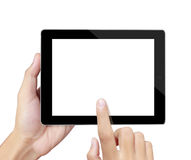 Руки указывают на экран касания, таблицу касания Стоковое фото RF
