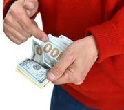 Руки человека подсчитывая деньги наличных денег доллара Стоковые Изображения RF