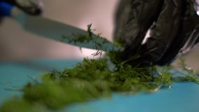 Руки шеф-повара режа свежий укроп для варить обедающий в конце ресторана вверх акции видеоматериалы