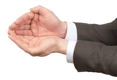 Руки Businessmans с пустым космосом Стоковая Фотография